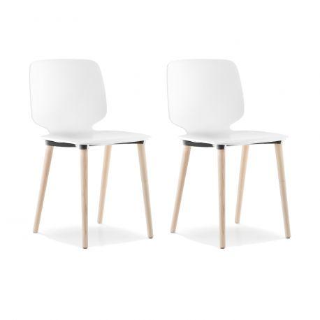 Lot de 2 chaises Babila 2750, blanc, pieds bois, Pedrali