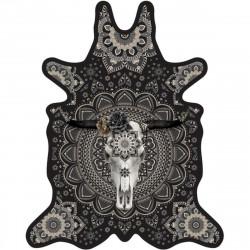 Tapis buffle fond noir M, vinyle forme peau de bête, 90x113cm, collection Baba Souk, Pôdevache