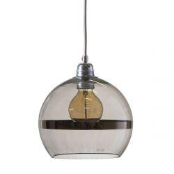 Suspension Rowan Gris fumé avec bande platine, diamètre 22 cm, Ebb & Flow, douille et câble argenté