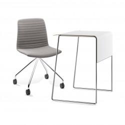 Pack télétravail petit bureau pieds chrome plateau blanc et chaise pivotante pieds chrome assise grise Link 62 Pro, Fornasarig